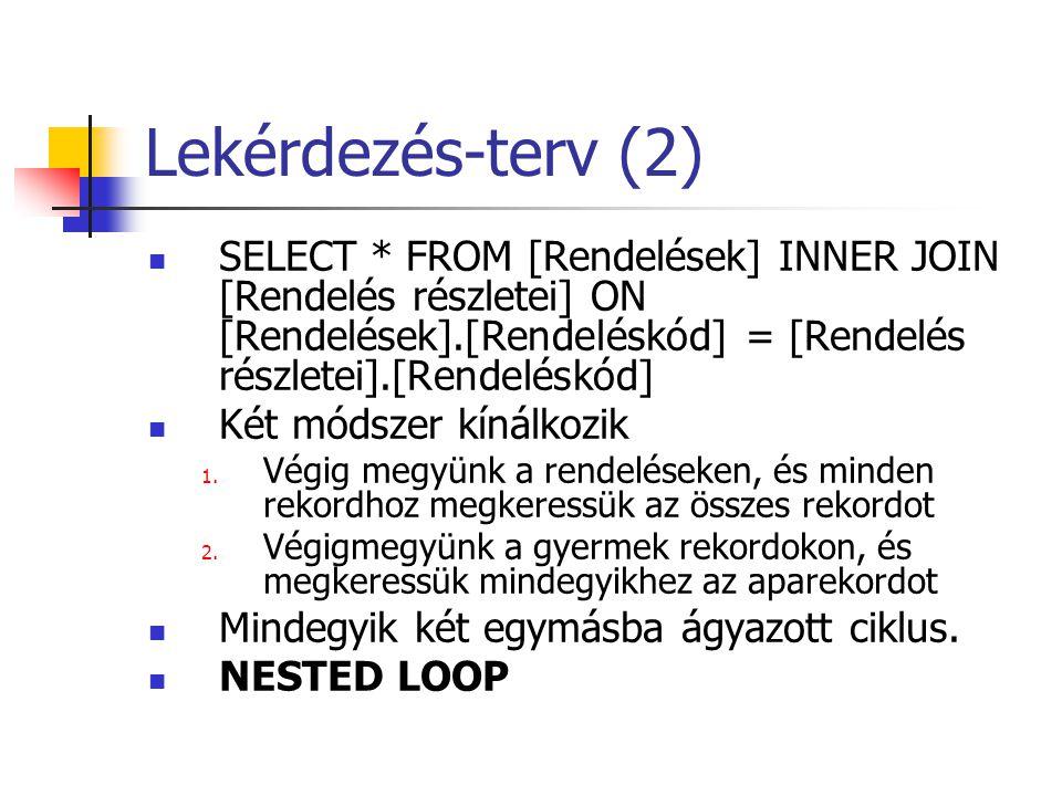 Lekérdezés-terv (2) SELECT * FROM [Rendelések] INNER JOIN [Rendelés részletei] ON [Rendelések].[Rendeléskód] = [Rendelés részletei].[Rendeléskód]